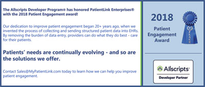 AllScripts Patient Engagement Award 2018